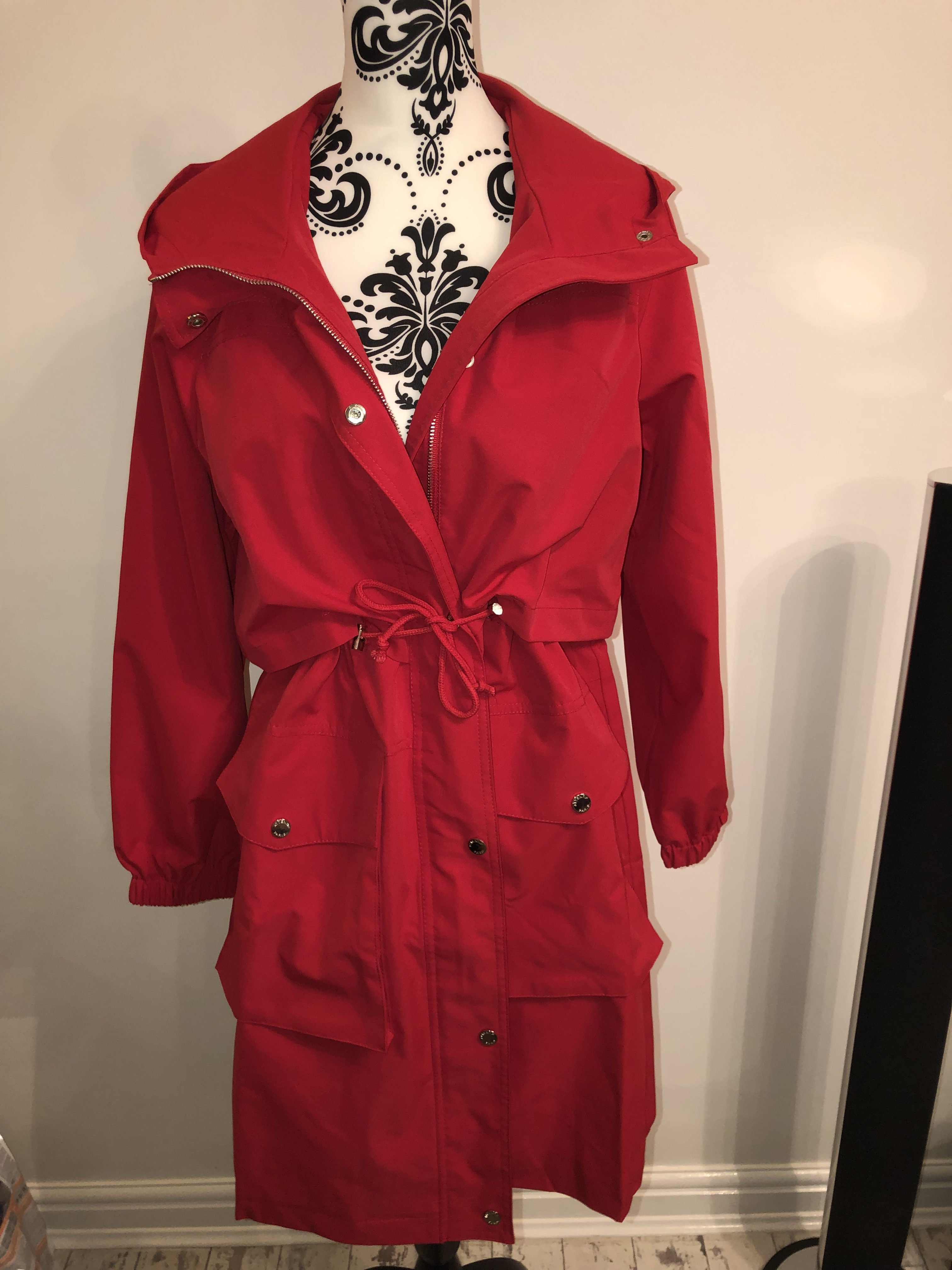 recognized brands lace up in detailed pictures Red Rain Coat